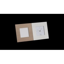 Incantesimo Design - Animus Table Clock and Photo frame 34x17 cm Colour Whitened Made in Italy