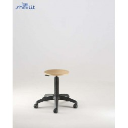 Emmeitalia - Designer Stool Round Beechwood Seat with castors Made in Italy