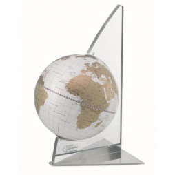 Globe with Plexiglass Sail Base - Gold White-Made in Italy