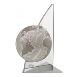 Mappamondo con base vela plexiglass- Grigio Caldo -Made in Italy
